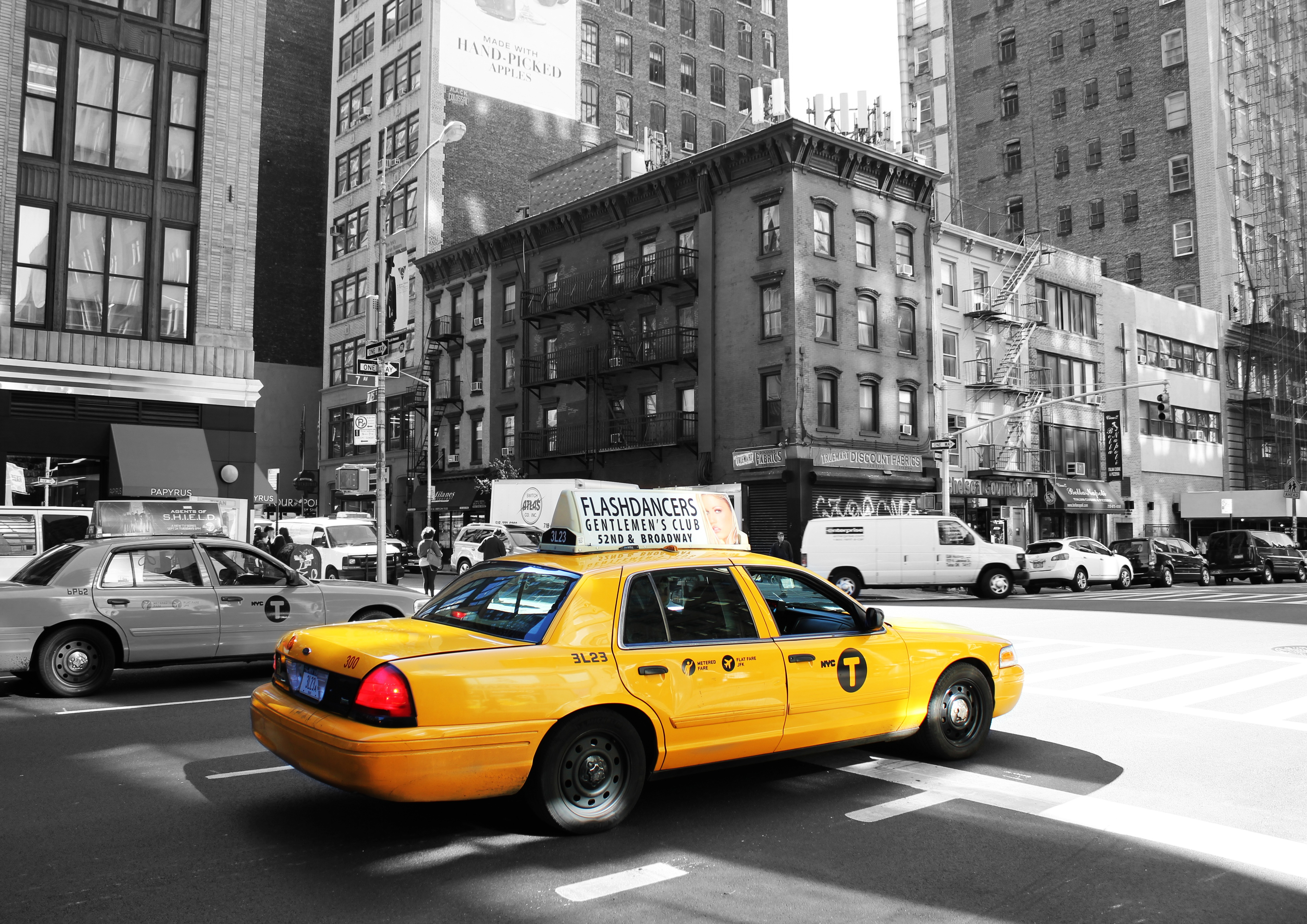 Ein New Yorker Taxi mit Car Wrapping Folie